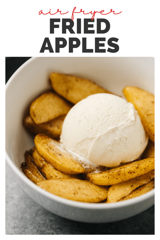 Pinterest image for healthy fried apples cooked in an air fryer.