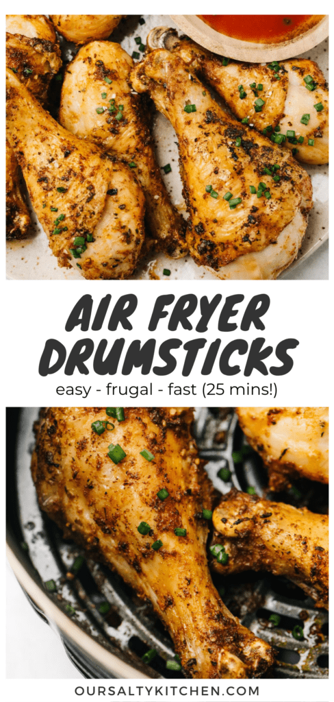 Pinterest collage for crispy chicken drumsticks cooked in the air fryer.