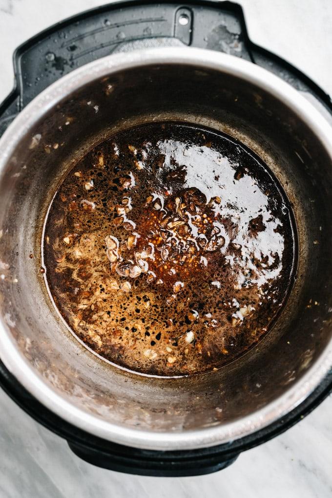 Instant pot deglazed with balsamic vinegar.