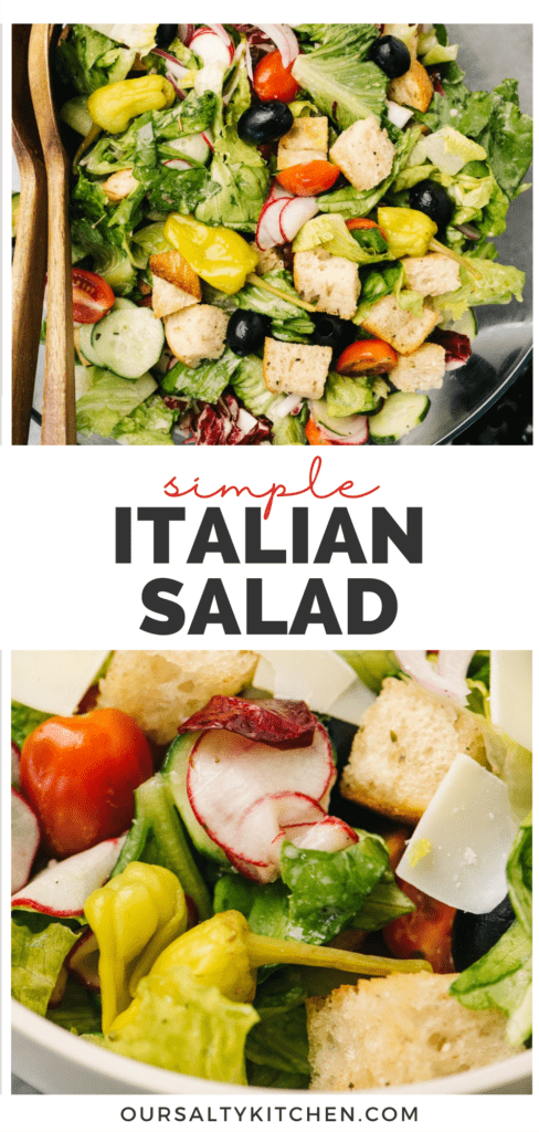 Pinterest collage for a simple tossed italian salad recipe.